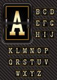 Alphabet in retro style on carbon background Stock Photo