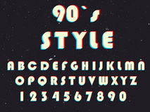 Alphabet in retro style. Ninetieth font with anaglif effect. Vintage letters Stock Images