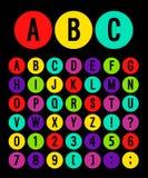 Alphabet rond d'icônes illustration de vecteur