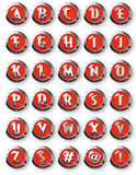 Alphabet rond rouge de Chrome de boutons de Chrome Image libre de droits