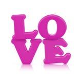Alphabet rose de signe d'amour d'isolement sur le blanc avec le chemin de coupure Photographie stock