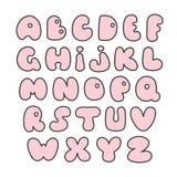 Alphabet rose Lettres tirées par la main Police comique créative valentin illustration de vecteur