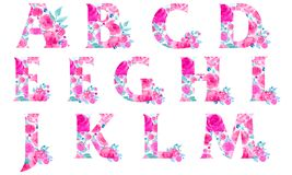Alphabet with roses. Alphabet with watercolor roses in pink tone stock images