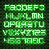 Alphabet rougeoyant de vert bleu Photographie stock libre de droits