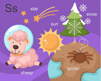 Alphabet.S. Letter star sun sheep spider snow Stock Photography