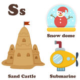Alphabet S letter.Sand Castle,Snow Dome,Submarine Royalty Free Stock Photo