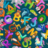 Alphabet sans couture d'animaux de modèle pour l'éducation d'ABC d'enfants dans l'école maternelle Photo stock