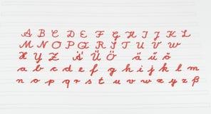 Alphabet. School handwriting alphabet on exercise book Stock Image