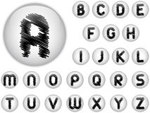 Alphabet Scribble Letters in shiny White Buttons Stock Images