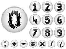 Alphabet Scribble Numbers in shiny White Buttons Stock Image