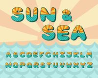 Alphabet sea horizon, vintage design. Sun rays, and sea waves aquamarine color, retro style. Font vector typography. Alphabet sun and sea horizon, vintage design royalty free illustration