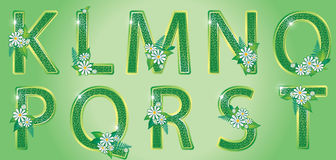 Alphabet. The second part. Alphabet with green floral LETTERS second part Stock Images