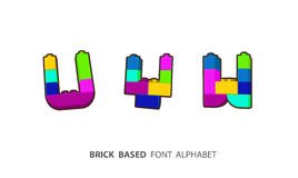 Alphabet set created from playing bricks. Royalty Free Stock Images