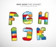 Alphabet set created from playing bricks Royalty Free Stock Photos