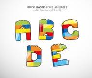 Alphabet set created from playing bricks Royalty Free Stock Photo