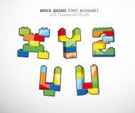 Alphabet set created from playing bricks Stock Photo
