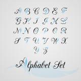 Alphabet set decor feather. Alphabet set, capital letters, decor feather Stock Photo