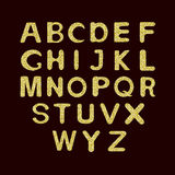Alphabet Set  with golden glitter. Royalty Free Stock Photography