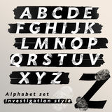 Alphabet set investigation and evidence style. Vector illustration Royalty Free Stock Photography