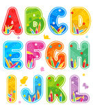 Alphabet set letters A - L. Colorful decorated spring or summer alphabet set letters A - L Stock Photo