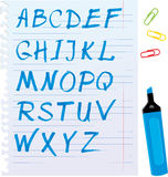 Alphabet set - letters are made of blue marker. Royalty Free Stock Photos
