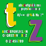 Alphabet, set of letters Rainbow. Font and set of labels, scalable and editable vector illustration (eps Stock Photography
