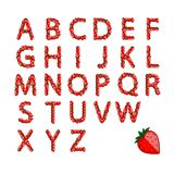 Alphabet set made from strawberry for your design Royalty Free Stock Photography