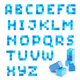 Alphabet set made of toy blocks isolated Royalty Free Stock Images
