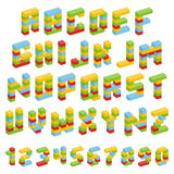 Alphabet set made of toy blocks isolated Royalty Free Stock Photos