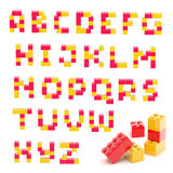 Alphabet set made of toy blocks isolated Stock Images