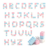 Alphabet set made of toy blocks isolated Royalty Free Stock Image