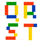 Alphabet set made of toy construction brick blocks Stock Photo