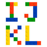 Alphabet set made of toy construction brick blocks Stock Image