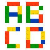 Alphabet set made of toy construction brick blocks Stock Photos