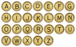 Alphabet set in old typewriter keys Royalty Free Stock Photos