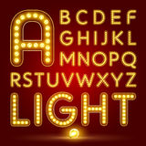 Alphabet set with realistic lamp Royalty Free Stock Photography