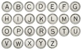 Alphabet set in typewriter keys. Full  English alphabet set in old round typewriter keys isolated on white with digital charcoal painting filter applied Royalty Free Stock Photos