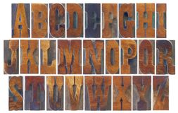 Alphabet set in French Clarendon wood type. Alphabet set in vintage letterpress wood type blocks, French Clarendon font popular in western movies and memorabilia Stock Image