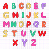 Alphabet on a sheet in the box. Motley alphabet on a sheet in the box. Vector illustration Royalty Free Stock Image