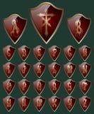 Alphabet on the shields. EPS 10. Vector illustration Stock Photo