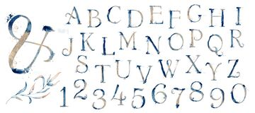 Watercolor blue marine english alphabet set with gold elements from A to Z hand drawn