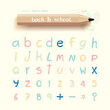 Alphabet sketched style ,back to school with doodle Hand drawn Royalty Free Stock Photography