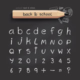 Alphabet sketched style ,back to school with doodle Hand drawn Royalty Free Stock Images