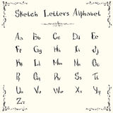 Alphabet Small Capital Letters Collection Sketch Hand Drawn Set. Alphabet Letters Collection Sketch Hand Drawn Set Vector Illustration Royalty Free Stock Image