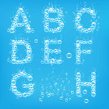Alphabet of soap bubbles vector Royalty Free Stock Images