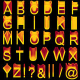 Alphabet: soft wax orange-violet letters. Isolated on black. A-Z, plus special symbols vector illustration