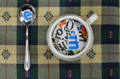 Paper Alphabet Soup and Spoon Stock Photo