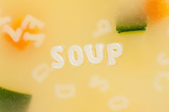 Alphabet soup drawing the word Soup Stock Images