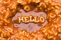 Alphabet soup - hello Stock Image