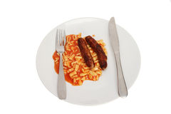 Alphabet spaghetti and sausage Royalty Free Stock Image